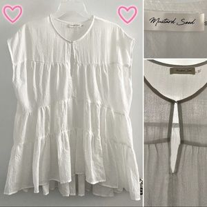 Mustard Seed sheer oversized tiered blouse, white